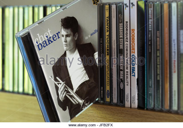 In a Soulful Mood, Chet Baker CD pulled out from among other CD's on a shelf, Dorset, England - Stock Image