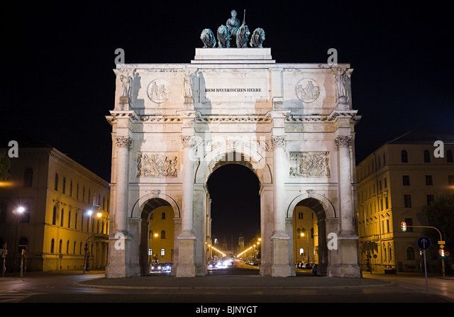 Victory gate munich - Stock Image