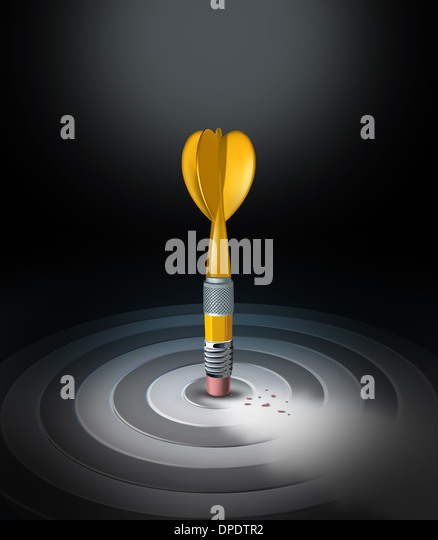 Strategy change business concept with a yellow pencil eraser shaped as a dart erasing a bulls eye target as a new - Stock Image