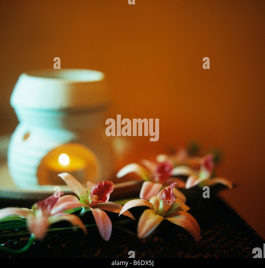 Aromatherapy is alternative medicine using oils extracted from plants applied in small quantities in massage as - Stock Image