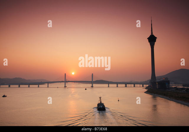 Macau Tower At Sunset - Stock Image