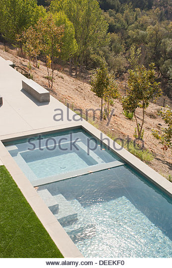 High angle view of modern swimming pool - Stock Image