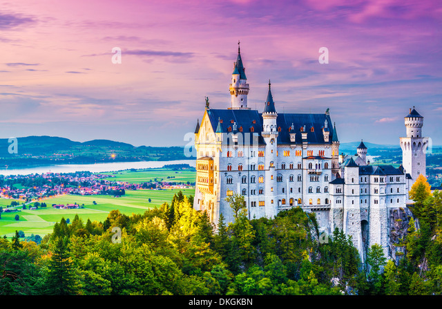 Neuschwanstein Castle in Germany. - Stock Image