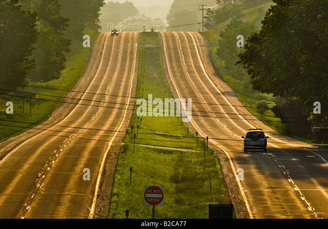 Looking west on Route 20 twenty the Great Western Turnpike Sharon Springs New York State - Stock Image