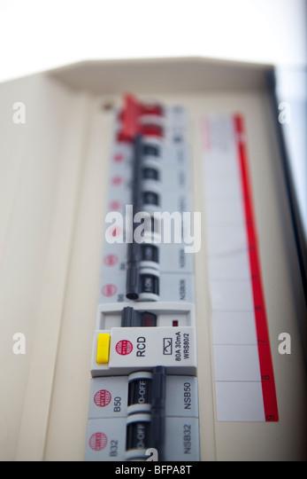 Consumer unit split load fuse board - Stock Image