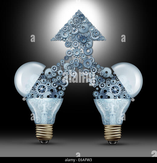 Creative innovation success as two open glass light bulbs releasing gears and cogs coming together in the shape - Stock Image