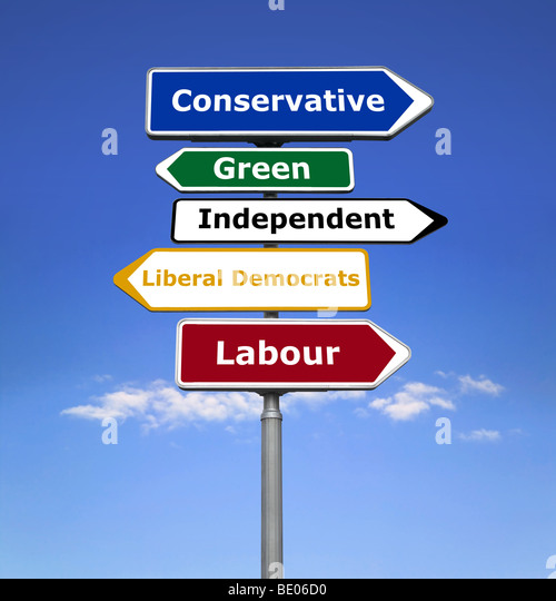 Signpost showing the political parties. - Stock Image
