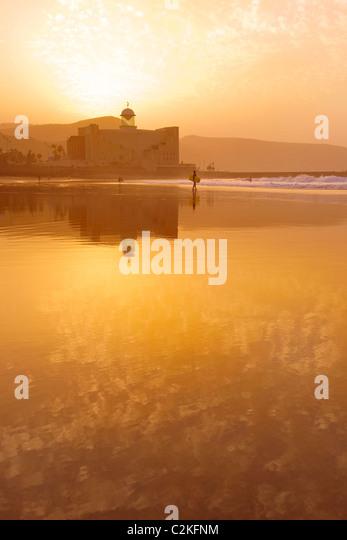Sunset on Las Canteras beach in Gran Canaria - Stock-Bilder
