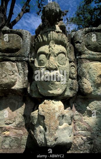 Honduras Copan Ruinas Maya sculpture Venus God vertical Mayan Central America - Stock Image