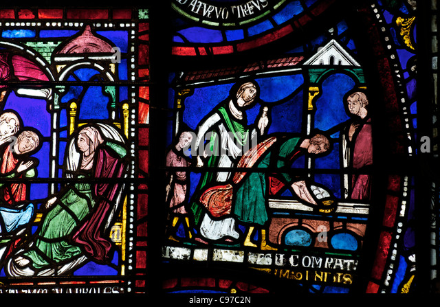 Plague in the House of Jordan Fitz-Eisulf, Becket Miracle Window 6 Trinity Chapel Ambulatory medieval stained glass, - Stock Image