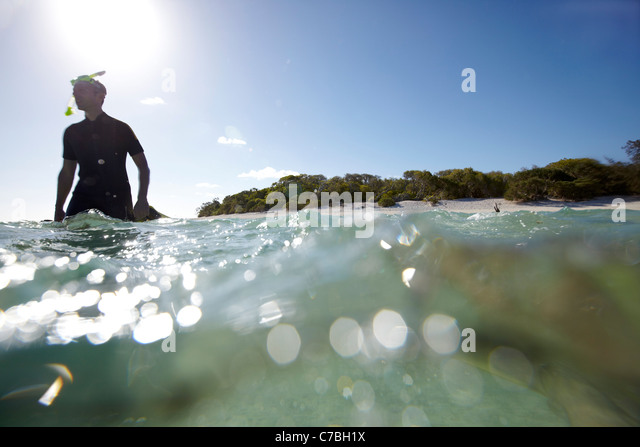 Snorkeler near Heron Island eastern part is part of the Capricornia Cays National Park Great Barrier Reef Marine - Stock-Bilder