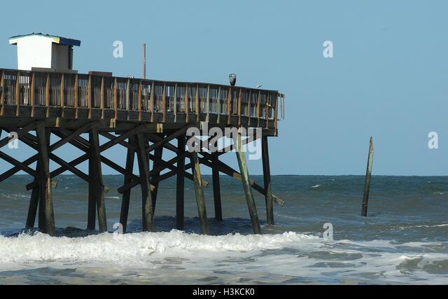 Hurricane damage pier stock photos hurricane damage pier for Daytona beach fishing pier