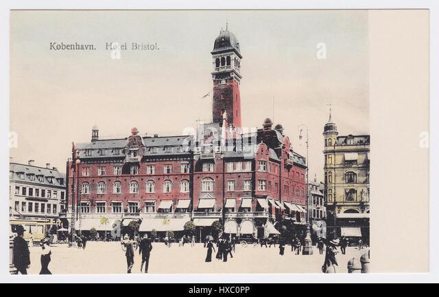 Hotel Bristol & City Hall Square, Copenhagen, Denmark - Stock Image