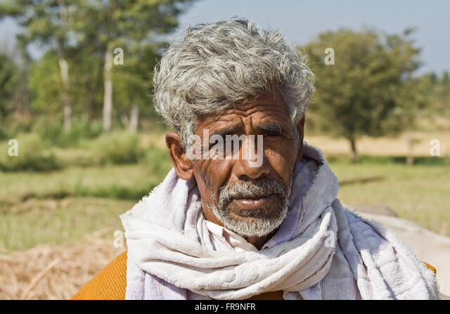 Asia, India, Karnataka, Somnathpur, Portrait of an Indian farmer - Stock-Bilder