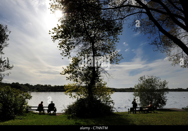 Autumn sunshine brings visitors out to Pennington Flash, Leigh, Greater Manchester, England. Picture by Paul Heyes - Stock Image