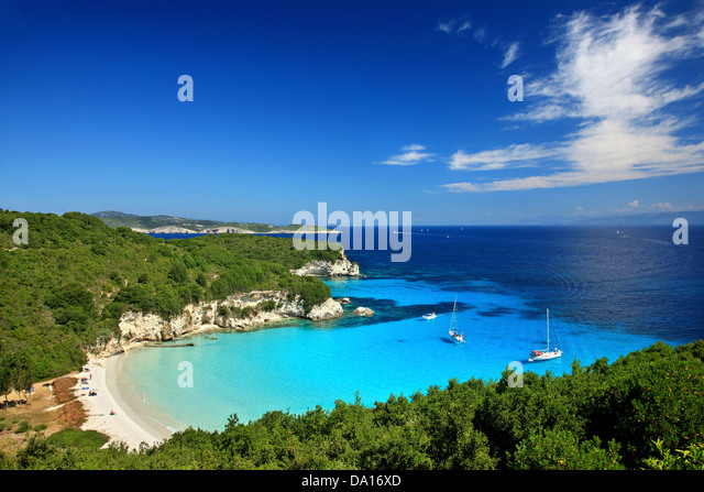 The exotic Voutoumi beach, Antipaxos ('Antipaxi') island, Ionian Sea, Eptanisa ('Seven Islands'), - Stock Image