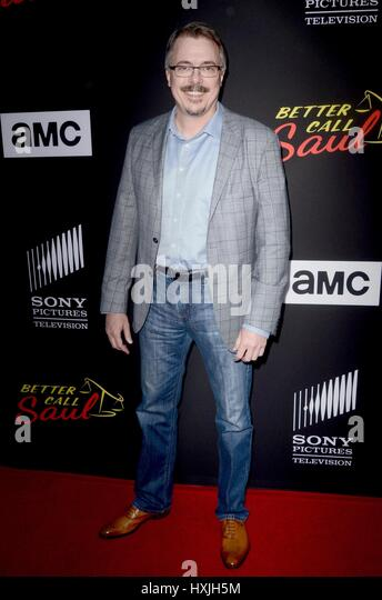 Culver City, CA. 28th Mar, 2017. Vince Gilligan at arrivals for BETTER CALL SAUL Season 3 Premiere, ArcLight Cinemas, - Stock Image