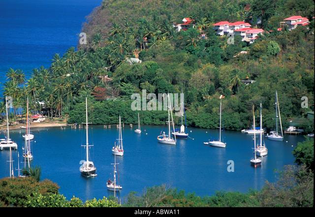 Caribbean St Lucia  Marigot Bay sailboats - Stock Image