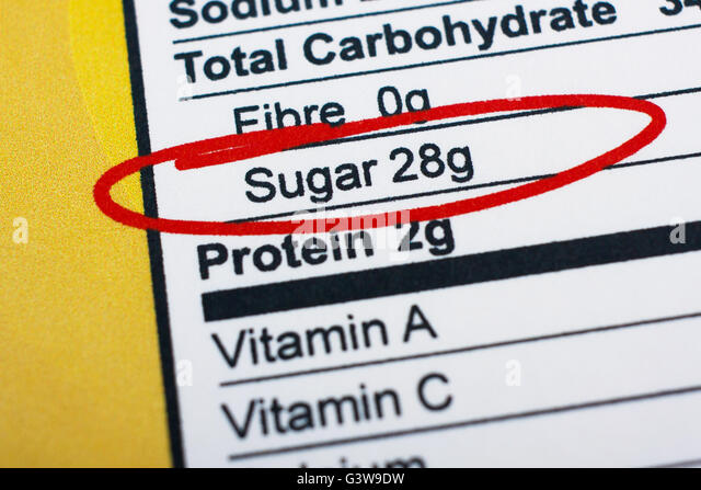 Photo of a nutrition facts label. High amount sugar in food - Stock Image