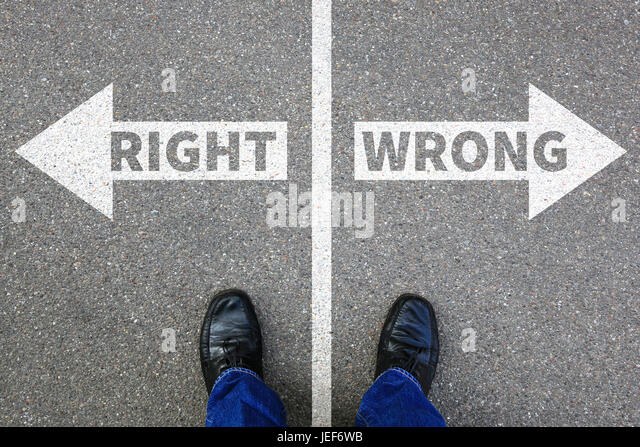 Right wrong business concept businessman goals success solution decision decide choice - Stock Image