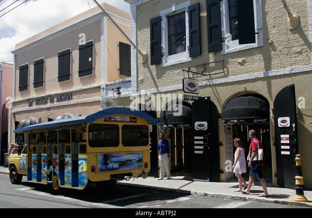 St. Thomas USVI Charlotte Amalie Main Street duty free shopping tour bus - Stock Image