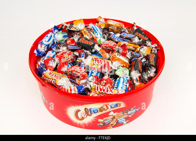 A selection of chocolates from a tin of Celebrations. - Stock Image