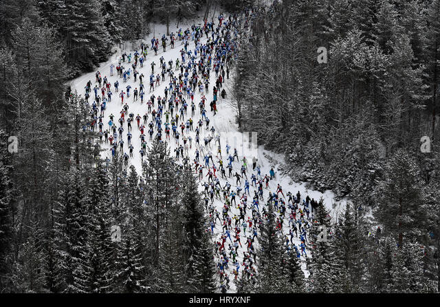 Stockholm. 6th Mar, 2017. Competitors take part in the long distance cross country ski competition Vasloppet in - Stock-Bilder