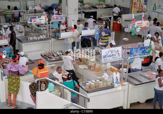 Panama City Panama Ancon Mercado de Mariscos market merchant shopping retail selling fish seafood business customer - Stock Image