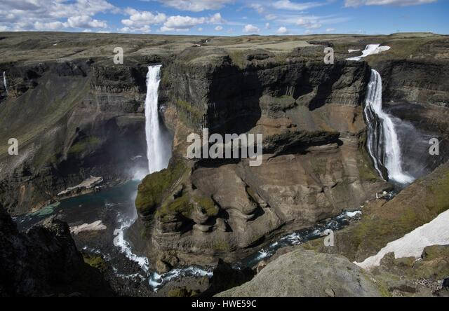 Haifoss, waterfall, canyon, lava - Stock-Bilder
