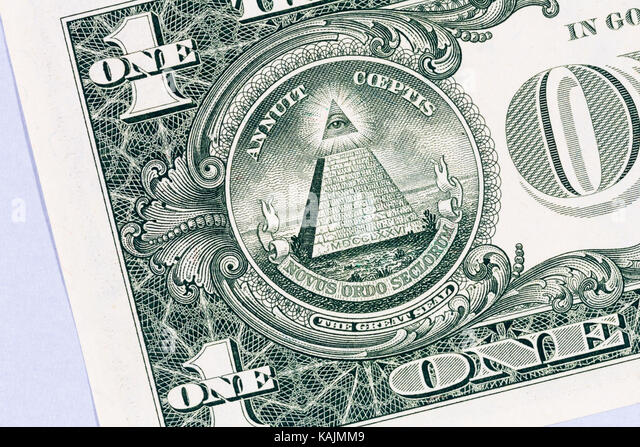 The reverse of the Great Seal of the United States of America on a one dollar bill.  According to Wikipedia:  The - Stock Image