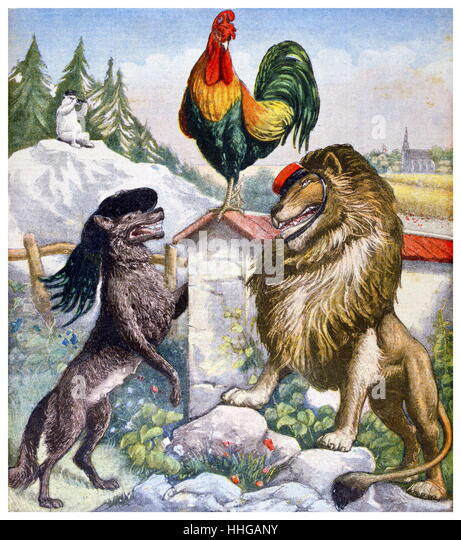 Illustration of a Cockerel a Fox and a lion representing France Italy and Great Britain. 1903 - Stock Image
