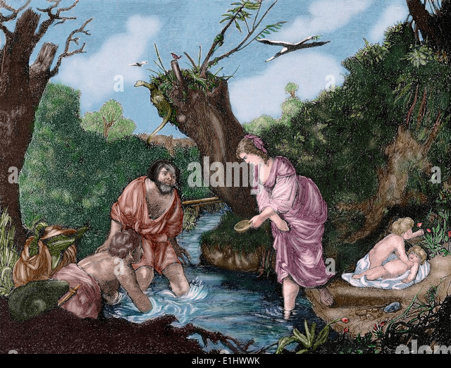 Classical mythology. Leto with his twin sons Apollo and Artemis. Engraving in The Iberian Illustration, 1885, Colored. - Stock Image