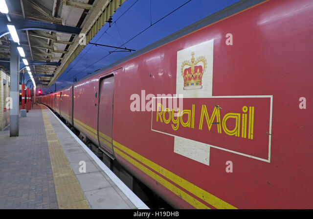 Royal Mail train TPO traveling Post Office north from Warrington Bank Quay Station, England,UK - Stock Image