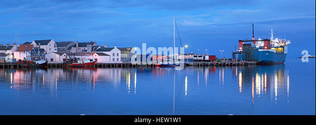 Stornoway Isle Of Lewis Panorama of harbour, Scotland, UK,Ullapool ferry MV,Loch,Seaforth - Stock Image