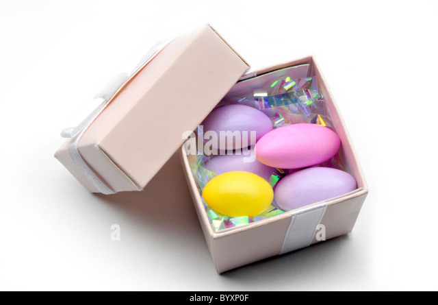 small box with easter eggs inside - Stock Image