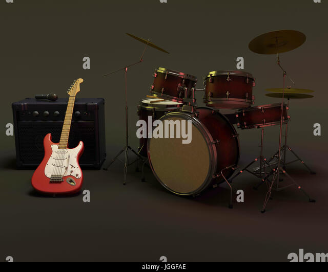 3d render of a guitar amplifier and drum kit - Stock Image