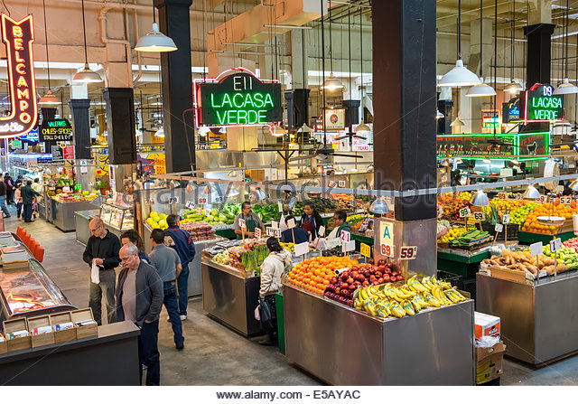 Los Angeles California CA L.A. Downtown Grand Central Market public market Homer Laughlin Building landmark shopping - Stock Image