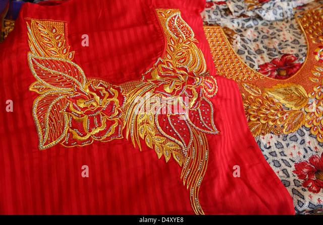 Closeup of textile embroidery, Dubai, United Arab Emirates - Stock Image