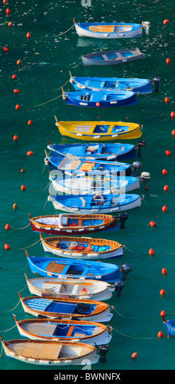 Recreational boats in the marina of Vernazza in Italy's Cinque Terre national park - Stock Image