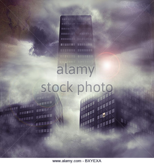 Tall tower blocks in the sky with small figure at window - Stock Image