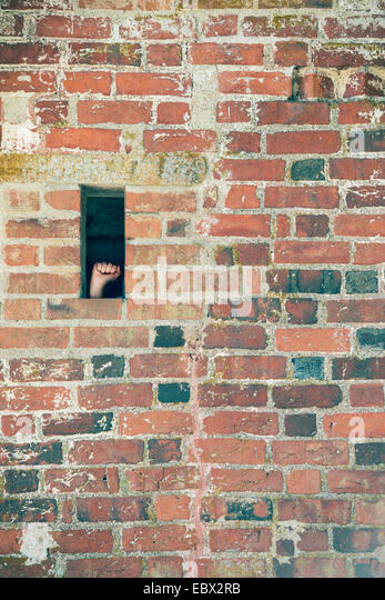 Hand making a fist in small opening of brick wall. Conceptual image of protest, prison and political prisoner. - Stock Image