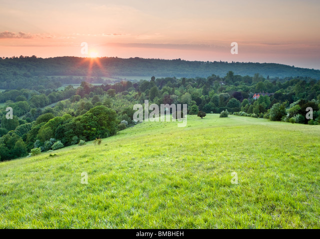 Sunset at Box Hill, North Downs, Dorking, Surrey, UK - Stock Image