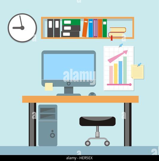 Interior office room.Vector illustration for design. Modern office interior with designer desktop in flat design. - Stock-Bilder