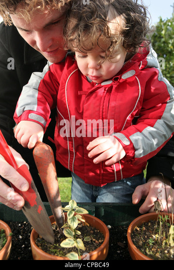 young father and toddler gardening - Stock Image