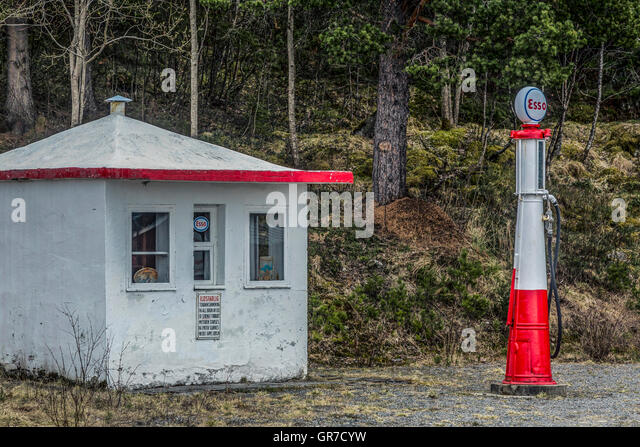 Nostalgic Gas Station In Norway - Stock Image