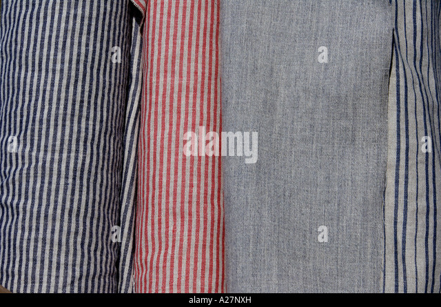 Linsey woolsey cloth for 18th century reenactors on sale at Yorktown battlefield Virginia - Stock Image