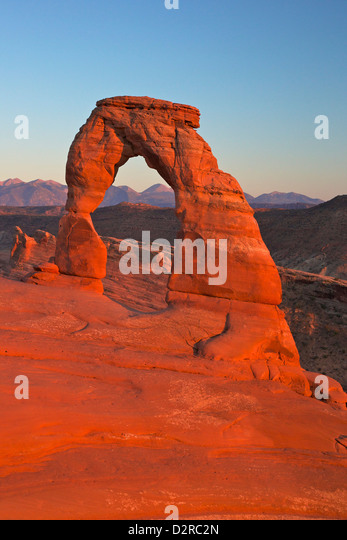 Sunset at Delicate Arch, Arches National Park, Moab, Utah, United States of America, North America - Stock Image