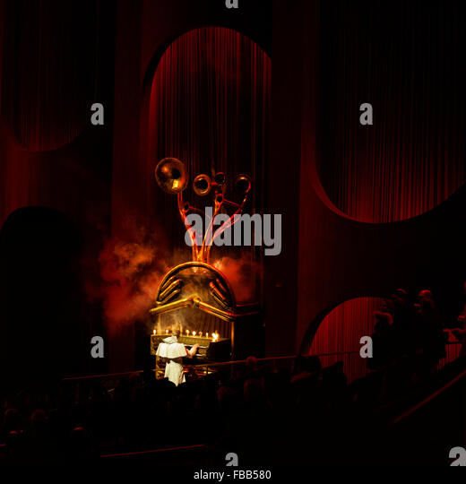 Las Vegas, Nevada, 20 February 2015: A musician plays a unique fantasy organ with horns music played during Cirque - Stock Image