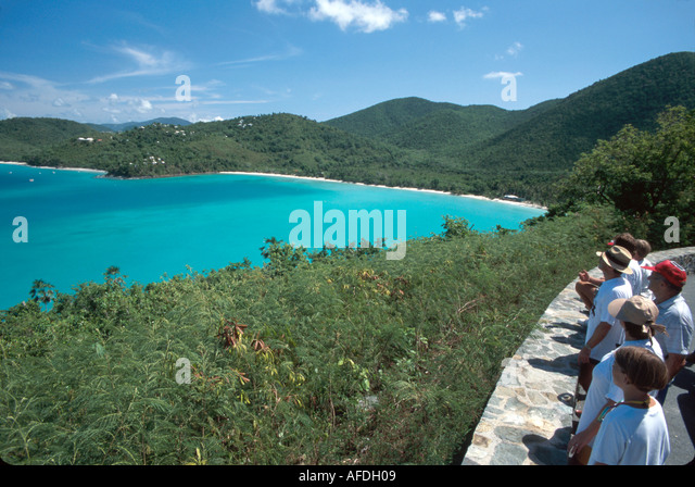 US Virgin Islands St. John Virgin Islands National Park Francis Bay Danish tourists North Shore Road overlook USVI009 - Stock Image