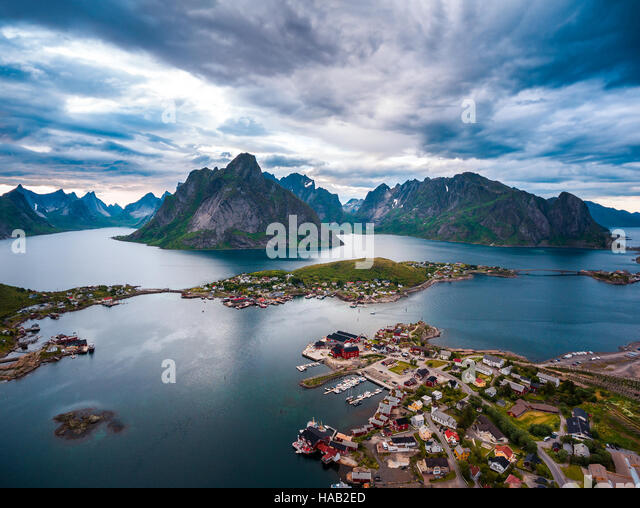 Lofoten islands is an archipelago in the county of Nordland, Norway. Is known for a distinctive scenery with dramatic - Stock Image